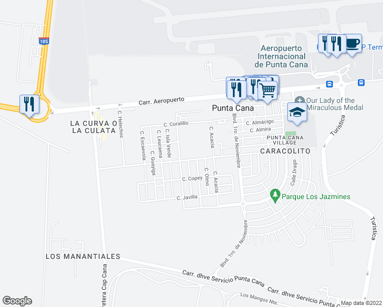 map of restaurants, bars, coffee shops, grocery stores, and more near Calle Amapola in Punta Cana