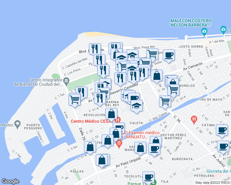 map of restaurants, bars, coffee shops, grocery stores, and more near Avenida Aviacion in Ciudad del Carmen