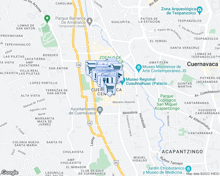 map of restaurants, bars, coffee shops, grocery stores, and more near 4 Hermenegildo Galeana in Cuernavaca
