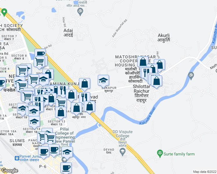 map of restaurants, bars, coffee shops, grocery stores, and more near Panvel Matheran Road in New Panvel East, Navi Mumbai