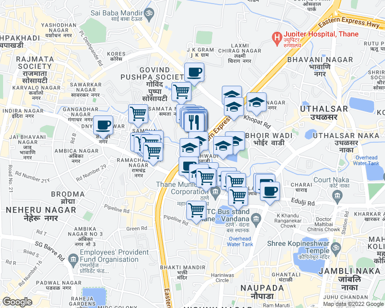 map of restaurants, bars, coffee shops, grocery stores, and more near Eastern Express Highway in Thane