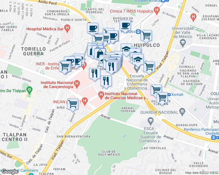 map of restaurants, bars, coffee shops, grocery stores, and more near Vasco de Quiroga in Mexico City