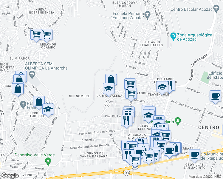 map of restaurants, bars, coffee shops, grocery stores, and more near San Buenaventura in Ixtapaluca