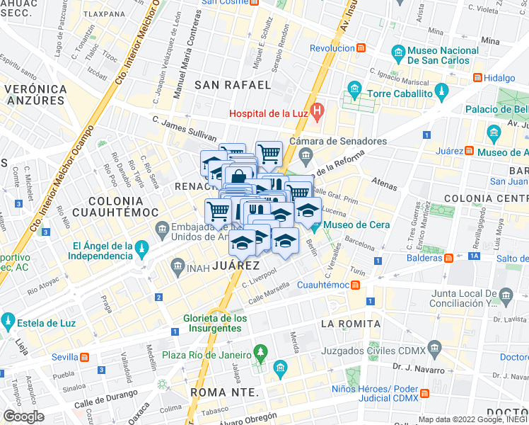 map of restaurants, bars, coffee shops, grocery stores, and more near Avenida de los Insurgentes Sur in Mexico City