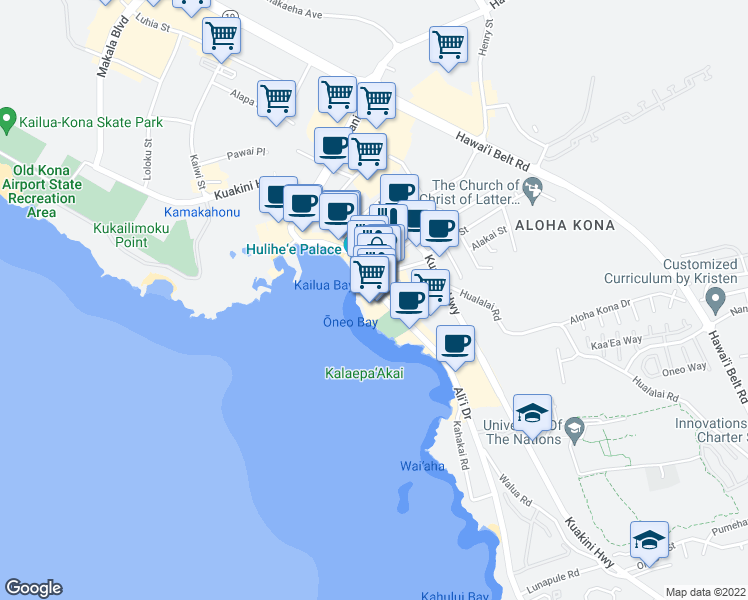 map of restaurants, bars, coffee shops, grocery stores, and more near 75-5744 Alii Drive in Kailua-Kona
