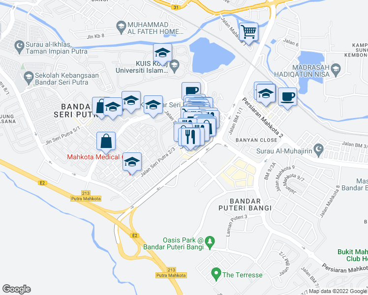 map of restaurants, bars, coffee shops, grocery stores, and more near 39 Jalan Seri Putra 1/4 in Kajang