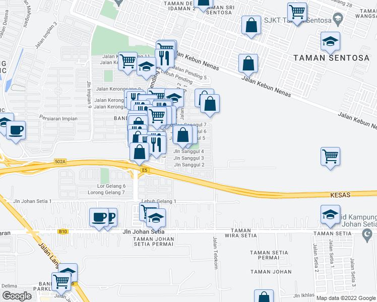map of restaurants, bars, coffee shops, grocery stores, and more near Jalan Sanggul 4 in Pelabuhan Klang