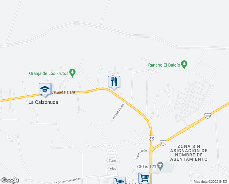 map of restaurants, bars, coffee shops, grocery stores, and more near El Arriero in Sahuayo de Morelos