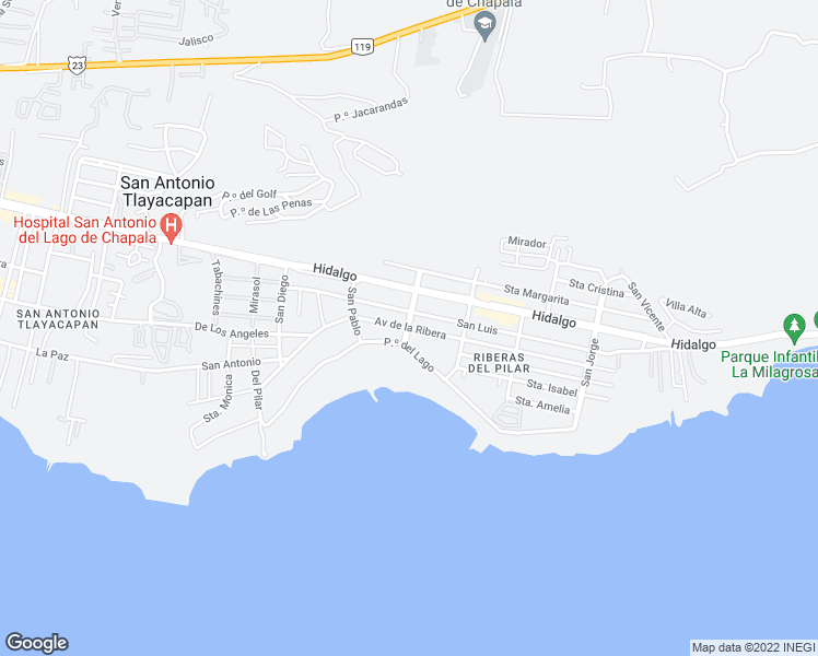 map of restaurants, bars, coffee shops, grocery stores, and more near 200 Paseo del Lago in Ajijic