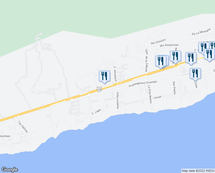 map of restaurants, bars, coffee shops, grocery stores, and more near 630 Poniente in Ajijic