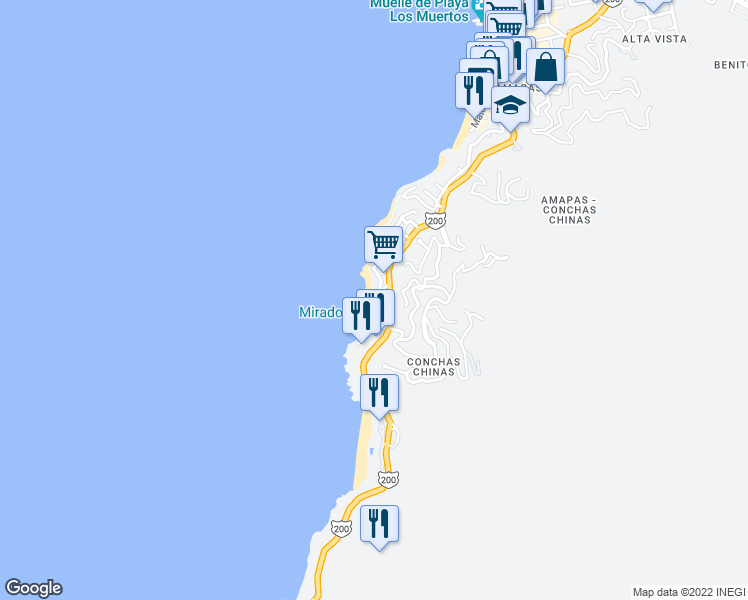 map of restaurants, bars, coffee shops, grocery stores, and more near Km. 2.5 Carretera Costera a Barra de Navidad in Puerto Vallarta