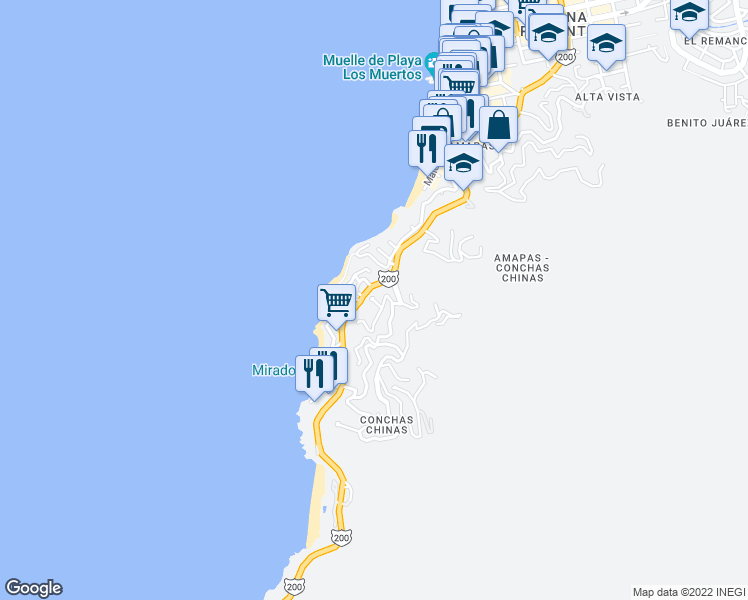map of restaurants, bars, coffee shops, grocery stores, and more near 6 Paseo de los Delfines in Puerto Vallarta