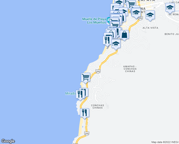 map of restaurants, bars, coffee shops, grocery stores, and more near 112 Calle Sagitario in Puerto Vallarta
