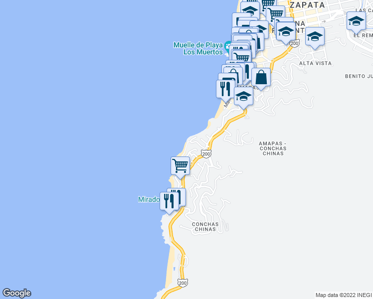 map of restaurants, bars, coffee shops, grocery stores, and more near 115 Calle Cerrada in Puerto Vallarta