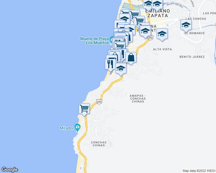 map of restaurants, bars, coffee shops, grocery stores, and more near 430 Santa Barbara in Puerto Vallarta