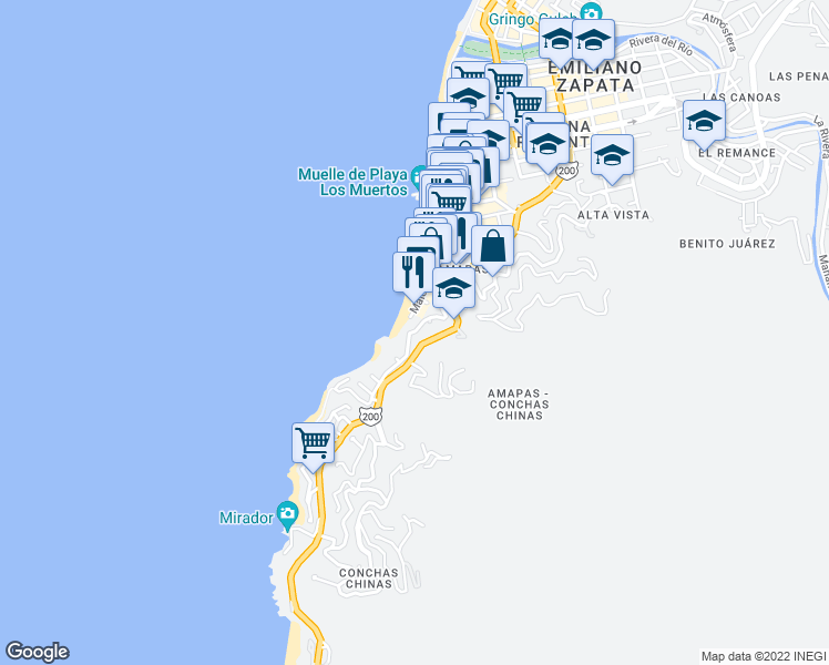 map of restaurants, bars, coffee shops, grocery stores, and more near 428 Santa Barbara in Puerto Vallarta