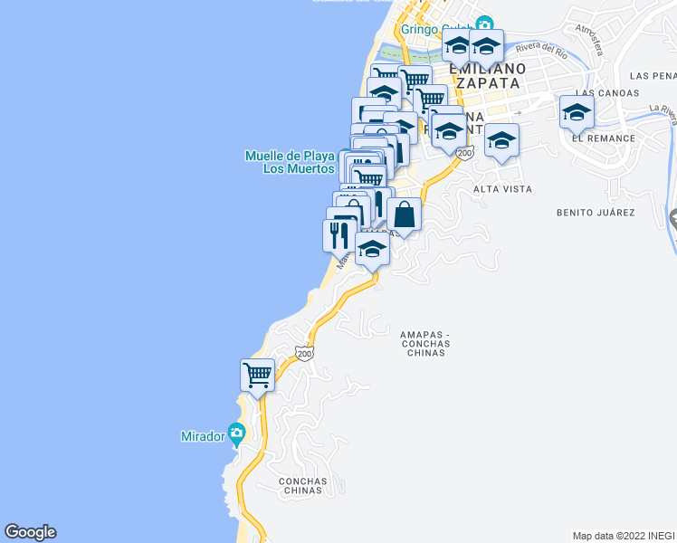 map of restaurants, bars, coffee shops, grocery stores, and more near 400 Herradura in Puerto Vallarta