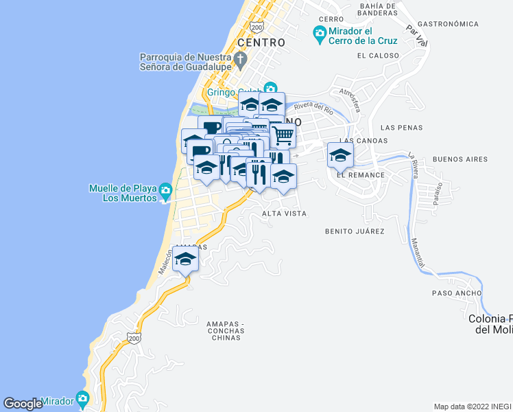 map of restaurants, bars, coffee shops, grocery stores, and more near 378 Rodolfo Gómez in Puerto Vallarta