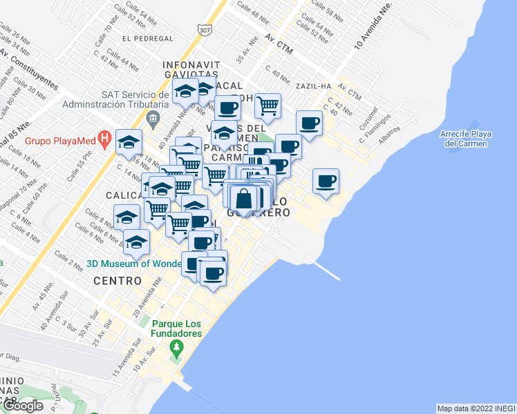 map of restaurants, bars, coffee shops, grocery stores, and more near LB 10 Avenida Norte in Playa del Carmen