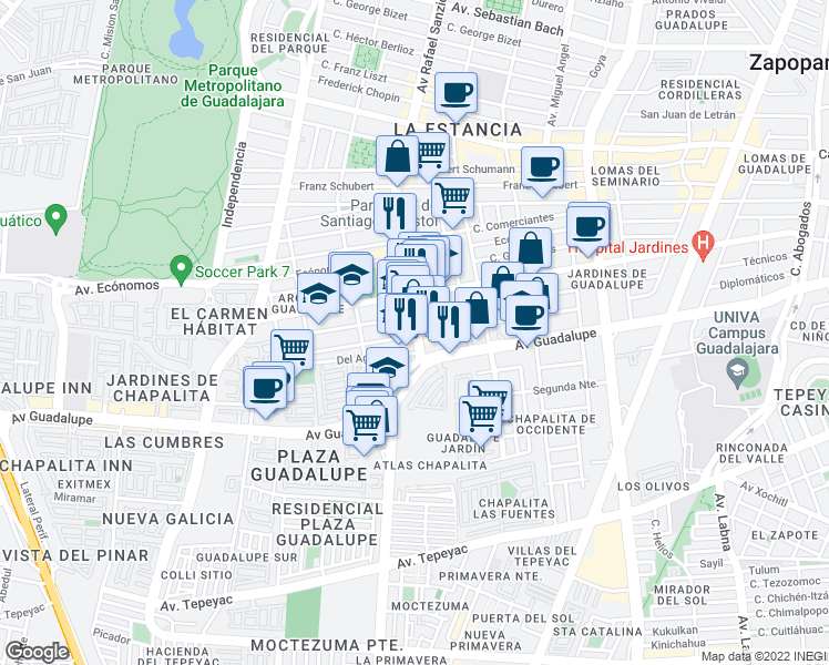 map of restaurants, bars, coffee shops, grocery stores, and more near 721 Avenida Rafael Sanzio in Zapopan