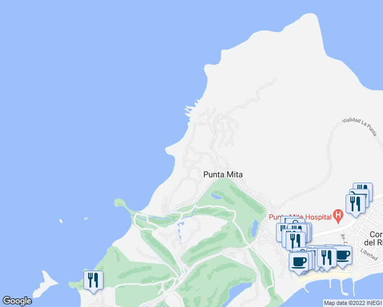 map of restaurants, bars, coffee shops, grocery stores, and more near Unnamed Road in Punta Mita