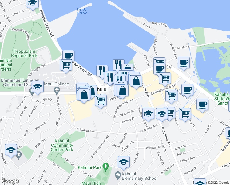 map of restaurants, bars, coffee shops, grocery stores, and more near 50 Vevau Street in Kahului