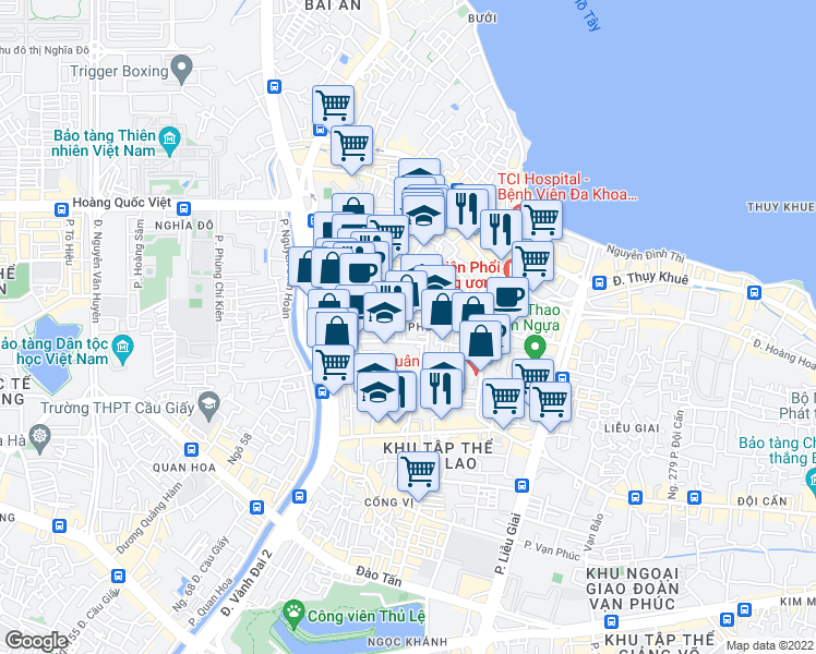 map of restaurants, bars, coffee shops, grocery stores, and more near in Ba Đình