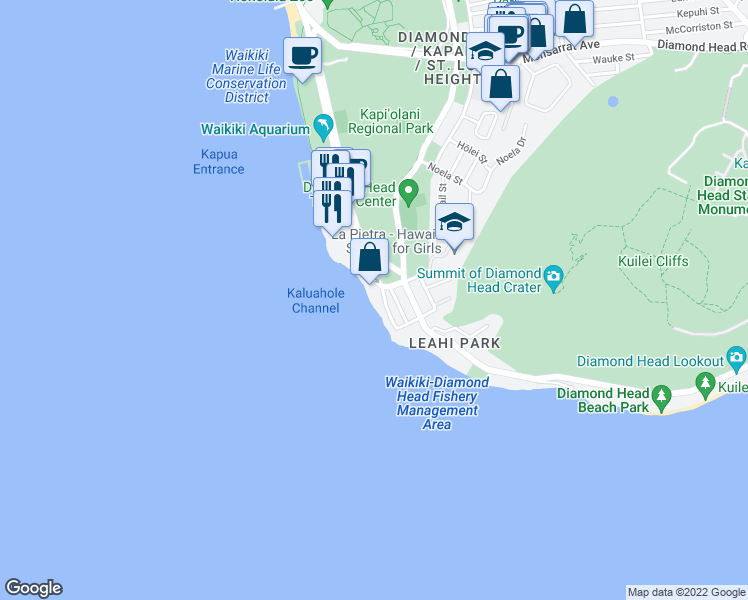 map of restaurants, bars, coffee shops, grocery stores, and more near 3003 Kalakaua Avenue in Honolulu