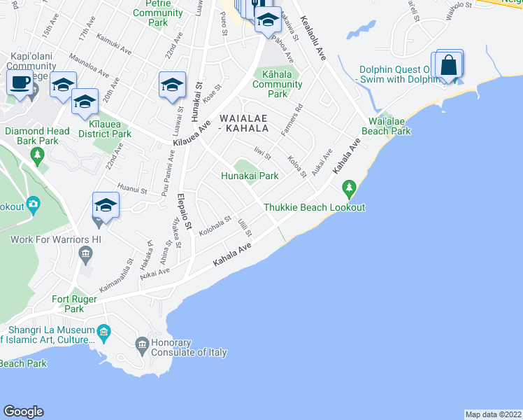 map of restaurants, bars, coffee shops, grocery stores, and more near 4586 Aukai Avenue in Honolulu