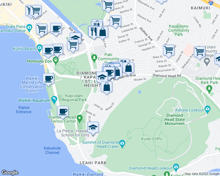 map of restaurants, bars, coffee shops, grocery stores, and more near 3741 Kanaina Avenue in Honolulu