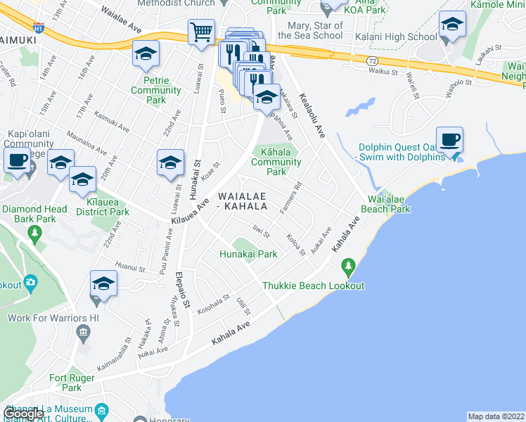map of restaurants, bars, coffee shops, grocery stores, and more near 1029 Koloa Street in Honolulu