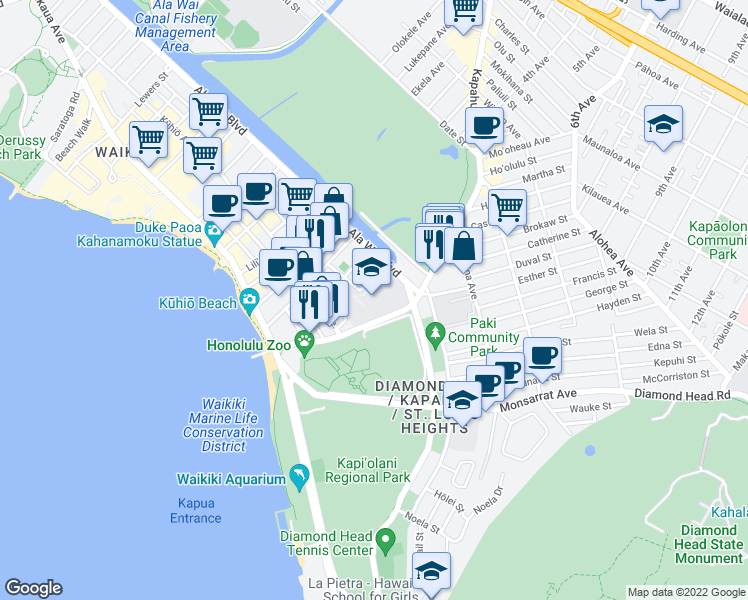 map of restaurants, bars, coffee shops, grocery stores, and more near 272-292 Kapahulu Avenue in Honolulu