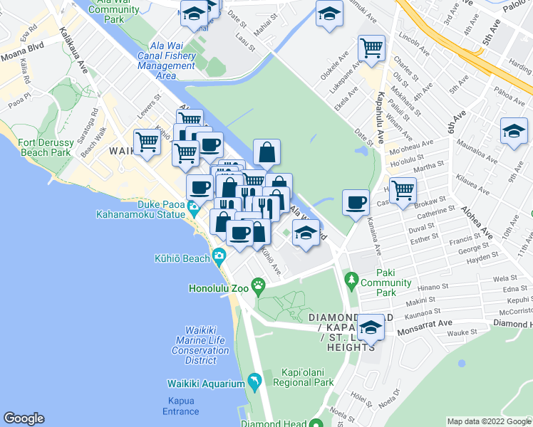 map of restaurants, bars, coffee shops, grocery stores, and more near 250 Ohua Avenue in Honolulu