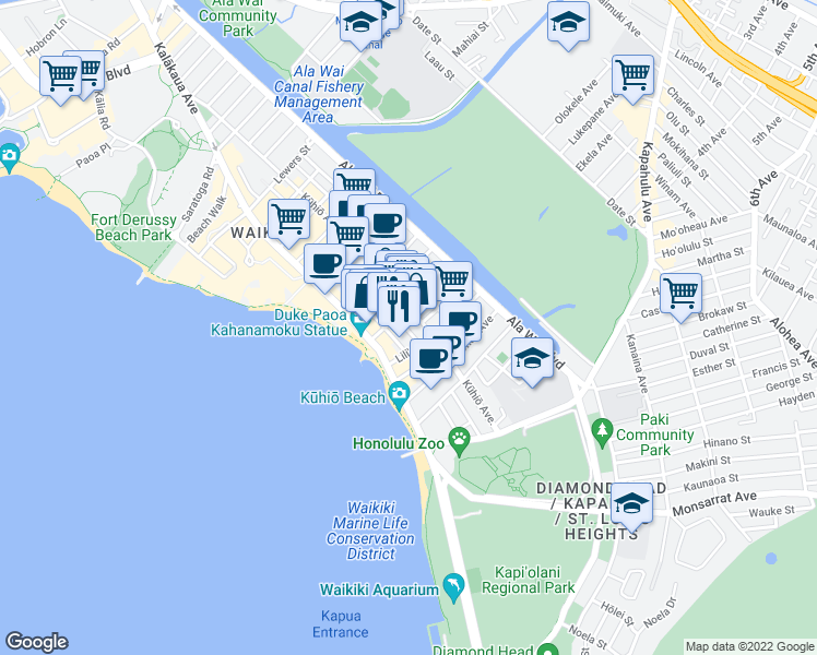 map of restaurants, bars, coffee shops, grocery stores, and more near 149 Uluniu Avenue in Honolulu