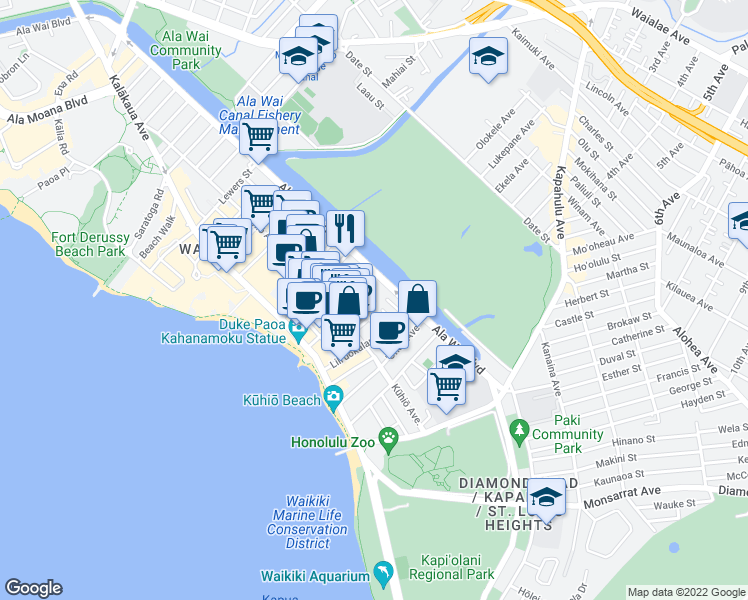 map of restaurants, bars, coffee shops, grocery stores, and more near Tusitala Street in Honolulu