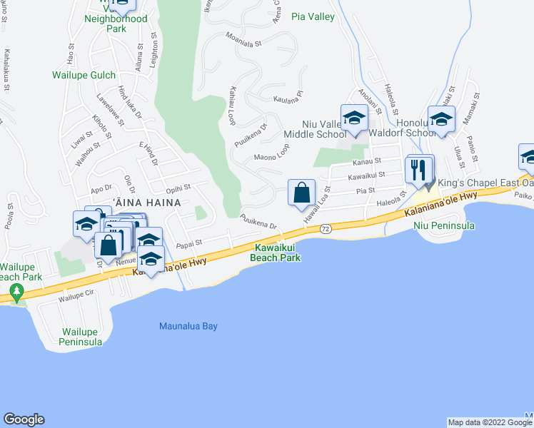 map of restaurants, bars, coffee shops, grocery stores, and more near 253 Puuikena Drive in Honolulu