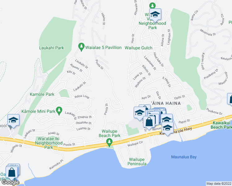 map of restaurants, bars, coffee shops, grocery stores, and more near 5339 Poola Street in Honolulu