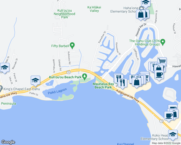 map of restaurants, bars, coffee shops, grocery stores, and more near Kalanianaole Hwy & Kawaihae St in Honolulu