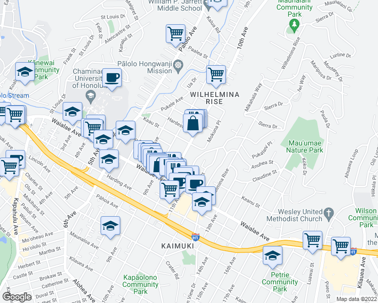 map of restaurants, bars, coffee shops, grocery stores, and more near 1339 10th Avenue in Honolulu