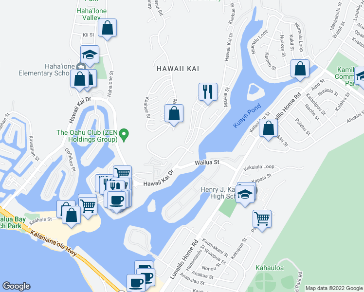 map of restaurants, bars, coffee shops, grocery stores, and more near 7110 Hawaii Kai Drive in Honolulu