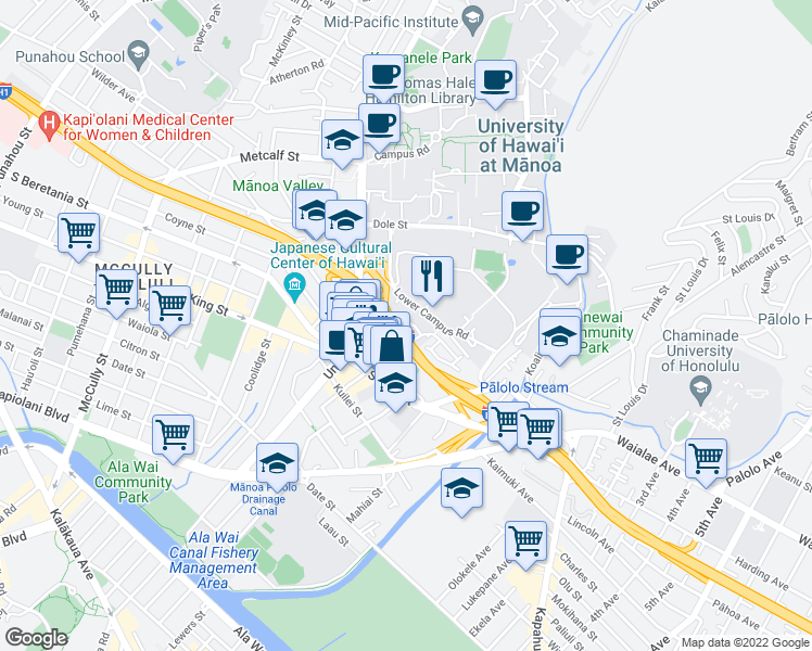 map of restaurants, bars, coffee shops, grocery stores, and more near 2715 Kolo Place in Honolulu