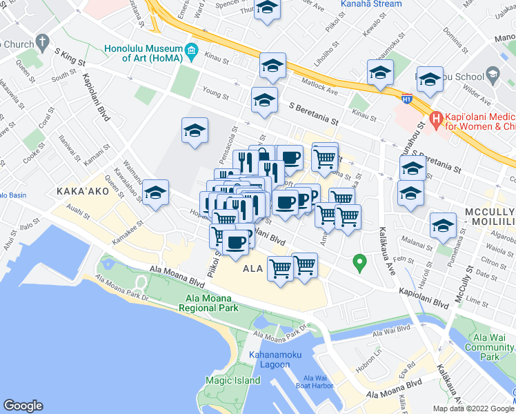 map of restaurants, bars, coffee shops, grocery stores, and more near 1242 Makaloa Street in Honolulu