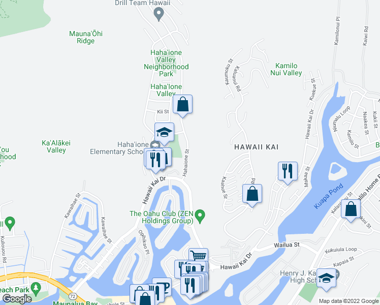 map of restaurants, bars, coffee shops, grocery stores, and more near 555 Hahaione Street in Honolulu