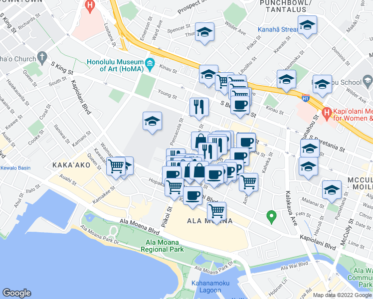 map of restaurants, bars, coffee shops, grocery stores, and more near 1141 Rycroft Street in Honolulu