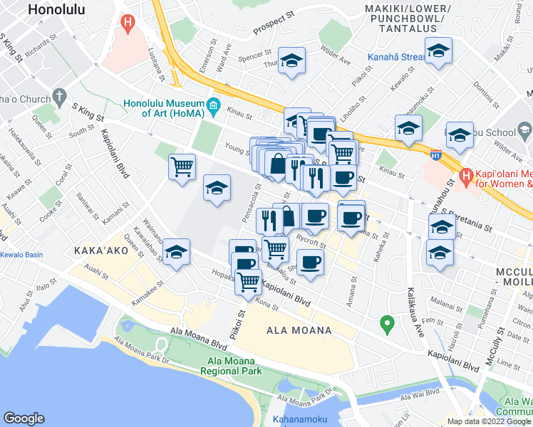 map of restaurants, bars, coffee shops, grocery stores, and more near 818 Laula Way in Honolulu