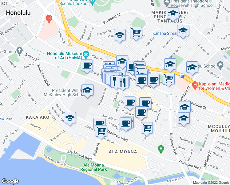 map of restaurants, bars, coffee shops, grocery stores, and more near 1146 Alohi Way in Honolulu
