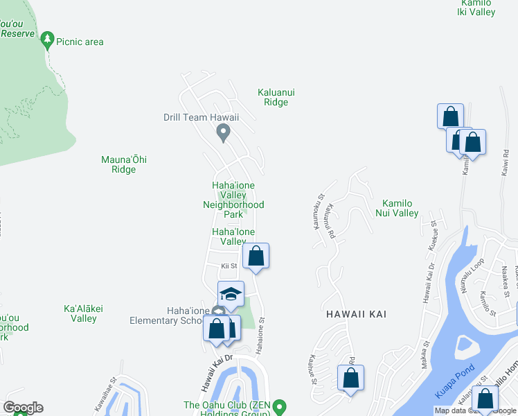 map of restaurants, bars, coffee shops, grocery stores, and more near 747 Hahaione Street in Honolulu