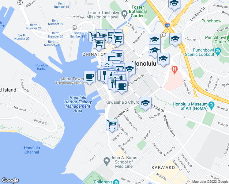 map of restaurants, bars, coffee shops, grocery stores, and more near 700 Richards Street in Honolulu