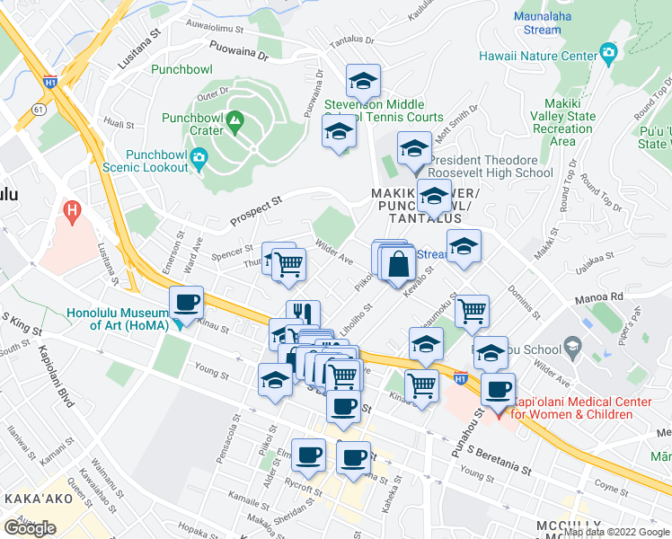 map of restaurants, bars, coffee shops, grocery stores, and more near 1561 Pensacola Street in Honolulu