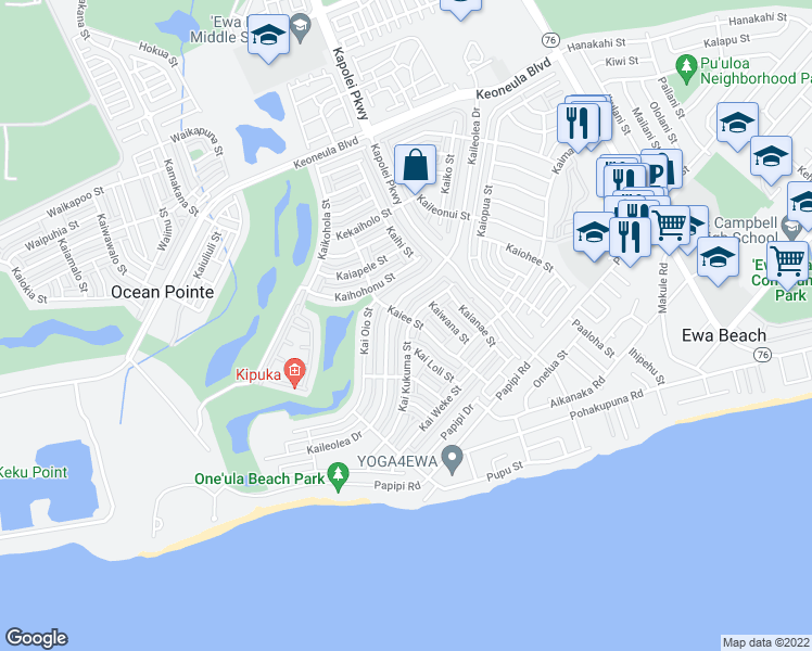 map of restaurants, bars, coffee shops, grocery stores, and more near 91-1054 Kai Kukuma Street in Ewa Beach